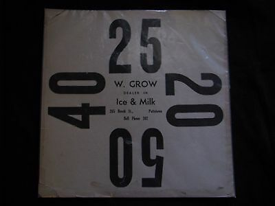 "11"" Square Antique Milk and Ice Delivery Card,  W. Grow Dealer, Pottstown, PA"