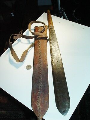 "Wow Colonial Antique Sword East African Massai In Leather, Big 22"" Long, Kenya"