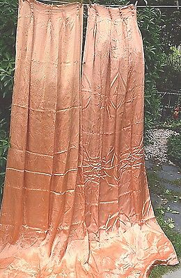 """Antique Drapes Set Of 2  Pinch Pleat Style Satin And Linen    92"""" Length"""
