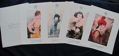 Schweppes advertising Limited edition set of 4 prints 1920's WH Barribal