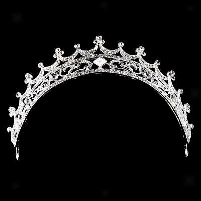 Bridal Princess Veil Tiara Rhinestone Moon Crown Wedding Party Prom Headband
