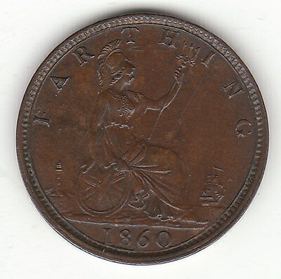 1860 Great Britain Queen Victoria 1 One Farthing.  High Grade.