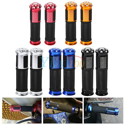 """Motorcycle Aluminum Rubber Gel Hand Grips for 7/8"""" Handlebar Bike Bicycle New BT"""