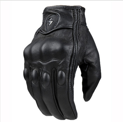 Guantes Fashion real Leather Full Finger Black moto men Motorcycle Gloves