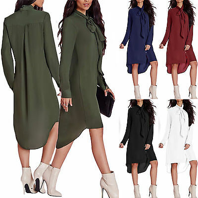 Women Long Shirt Dress Chiffon Button up Loose Asymmetric Tunic Blouse Plus Size