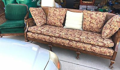 RARE antique Mid-century Karpen Cane-backed Couch/Chair