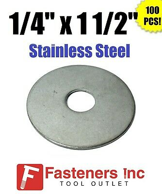 """(Qty 100) 1/4"""" x 1-1/2"""" OD Stainless Steel Fender Washers Type 304"""