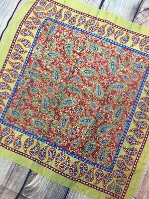 Vintage Sarah Coventry Paisley Scarf Made in Italy Square Yellow Blue Red Floral