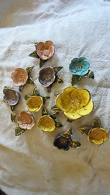 Vintage Hand Made Pansy Flower Shaped Nut Bowl w/10 Indvidual Nut Bowls