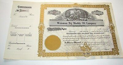 Early 1900S Weisman Big Muddy Oil Company Wyoming Stock Certificate New