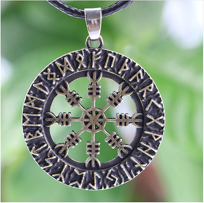 Ancient Norse Viking Cross Rune Vegvisir Compass Circle Amulet Pendant Necklace