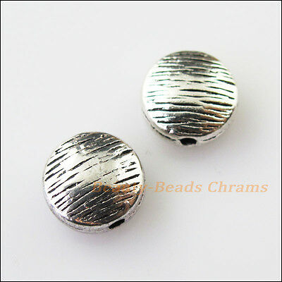 8 New Round Flat Charms Tibetan Silver Tone Spacer Beads 10mm