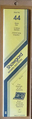 SHOWGARD STAMP MOUNTS 44mm BLACK Pack of 15 Strips 215mm x 44mm