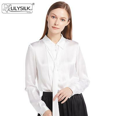 7ece3551d02522 LILYSILK Button Front Pleated 22 Momme Silk Shirt Blouse for Women Free  Shipping