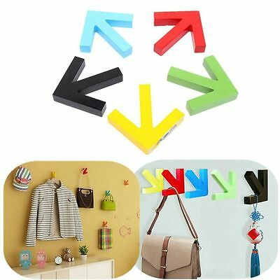 Colorful Arrow Wall Mounted Colour Painting Wood Hook Hanger Door Rack Decorate