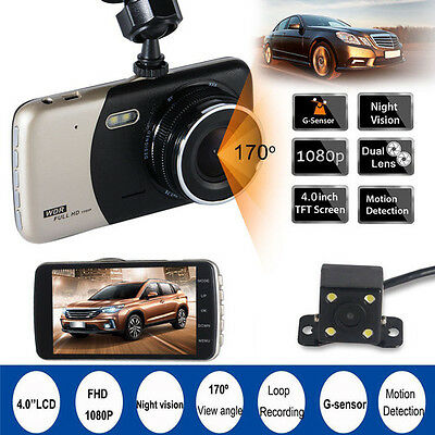 2017 Dual Lens FHD 1080P Dash Cam Car DVR Video Recorder Front+Rearview Camera