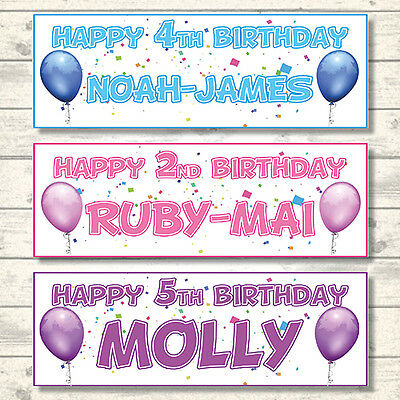 2 PERSONALISED HAPPY BIRTHDAY BALLOON BANNERS - 3ft x 1ft - CHOICE OF 7 COLOURS