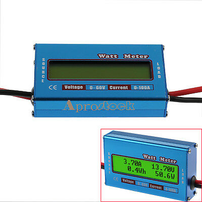 60V/100A Watt Meter Digital LCD Battery Voltage Amp Monitor RC DC Power Analyzer