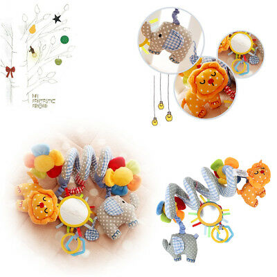 Baby Crib Mobile Bed Bell Music Toy Spiral Rattles Cot Decorations with Mirror