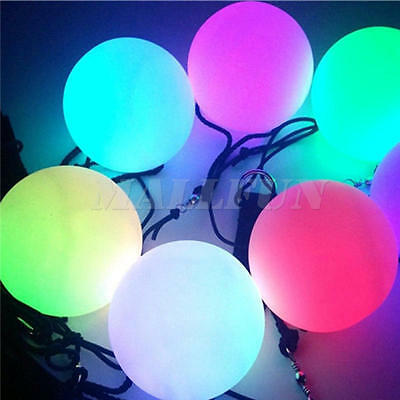 1X LED Multi-Colours Glow POI Thrown Ball Light up For Belly Dance Hand Props