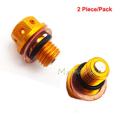 2x Gold Engine Magnetic Oil Drain Plug Bolt Nut Screw For ATV Pit Pro Dirt Bike