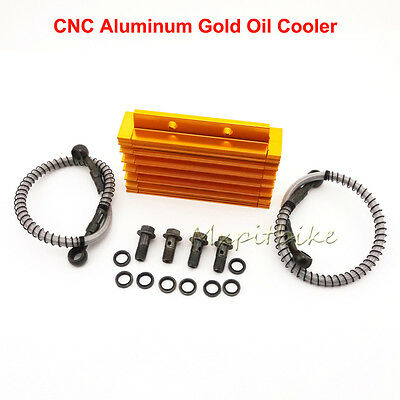 CNC Aluminum Gold Oil Cooler For Chinese Pit Dirt Bikes BSE Kayo YCF Thumpstar