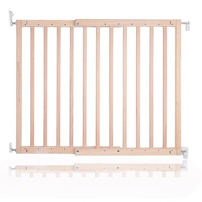 New Safetots Chunky Wooden Screw Fit Stair Gate Natural 63.5 105.5cm Child Gate