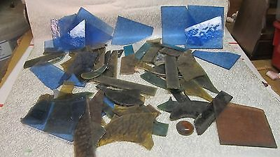 Lot  Vintage Stained Glass & Slag Window Panel  Pieces