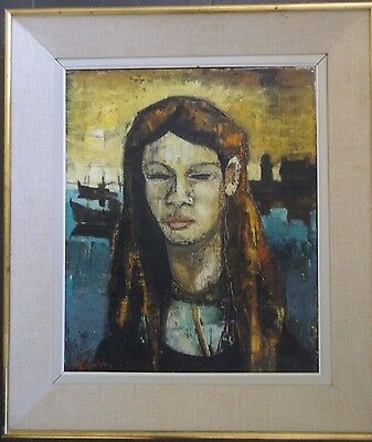 FRAMED IMPRESSIONIST OIL ON CANVAS PAINTING signed 1960 A FEMALE PORTRAIT STUDY