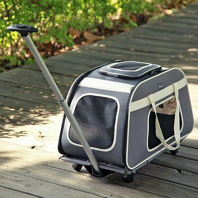 Petsfit Pet Carrier Trolley with Telescopic Handle, Portable Large Dog/Cat Carri