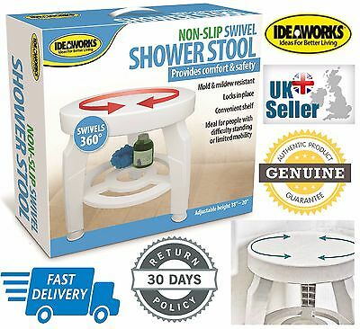 IdeaWorks 360° Swivel Seat Portable Non-Slip Shower Bath Stool Aid *UK SELLER*