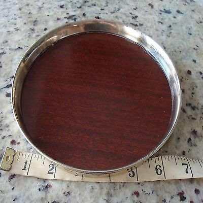 """7.5"""" Sterling Silver Reed & Barton X150 Bar Serving Tray Round Wood Mid Century"""