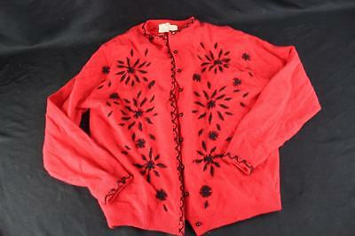 Vintage 1960s Marki Red Beaded Lambs Wool Cardigan Sweater Women's Size 10