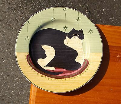 "Warren Kimble 8 1/4"" Black & White Kitty Cat Plate Cat Collection 2000 Sakura"