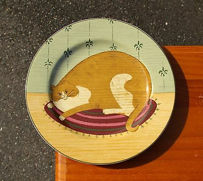 "Warren Kimble 8 1/4"" Orange Ginger Kitty Cat Plate Cat Collection 2000 Sakura"