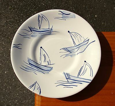 "Eddie Bauer Home 8 5/8"" Diameter White & Blue Sailboat Plate"