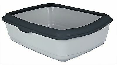 Modern Light & Dark Grey Cat Kitten Litter Tray Toilet Loo With Rim 40312