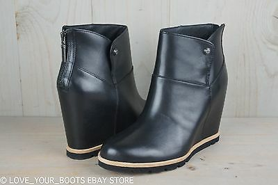 f3df5ac270fe UGG AMAL BLACK Leather Wedge Ankle Booties Womens Boots Us 8.5 Nib ...