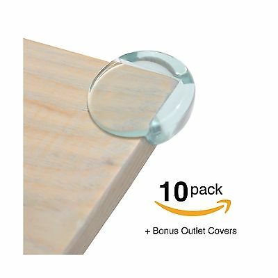 FitFabHome 10 Pack Premium Clear Corner Guards | BONUS ELECTRICAL OUTLET COVERS.