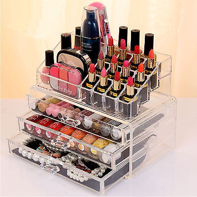 Makeup Cosmetics Jewelry Organiser Drawers Lipstick/Nailpolish Hold Storage Box