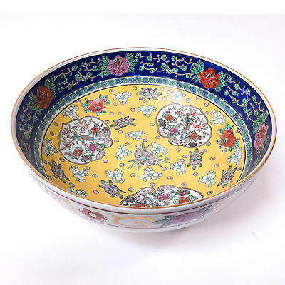 "Antique Chinese Yellow Floral Rose Ceramic Large Bowl 10.80"" x 4.50"""