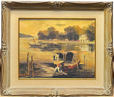 Lucille Gauld Antique Fisherman & Boats Oil Painting w Antique Ornate Wood Frame