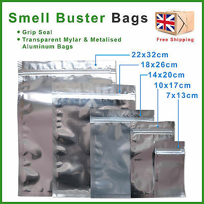 Smell Proof Bags Clear Mylar Plastic & Aluminum Foil Odour Herb & Food Storage