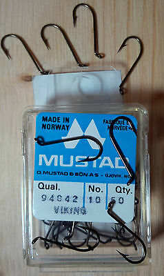 Mustad 94842, Size 10, Package of 50, Made in Norway, Dry Fly Hooks, TUE
