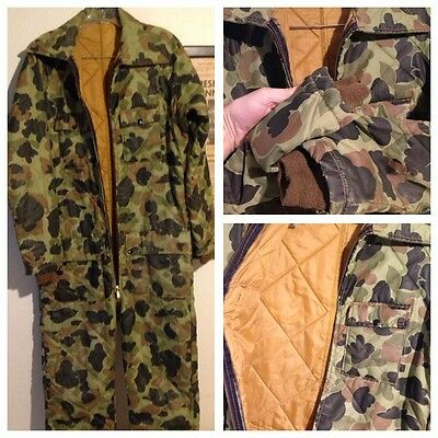VTG Quilt Lined Insulated Duck WW2 Vietnam Camo Hunting Coveralls Small