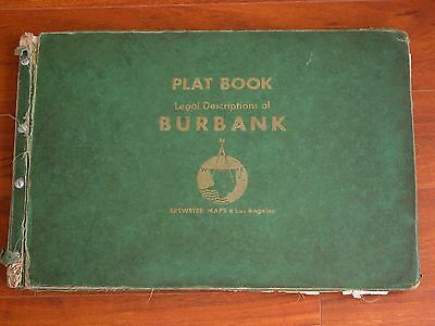 Vtg 1959 PLAT BOOK Legal Descriptions of BURBANK CA Brewster Maps Los Angeles