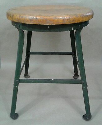 "vintage ANGLE STEEL INC. (Plainwell MI) industrial / heavy duty 18"" STOOL"
