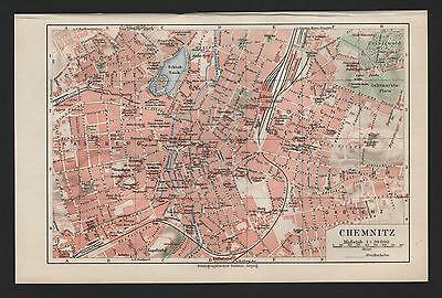 Landkarte city map 1925: Stadtplan CHEMNITZ. Massstab: 1 : 20 000