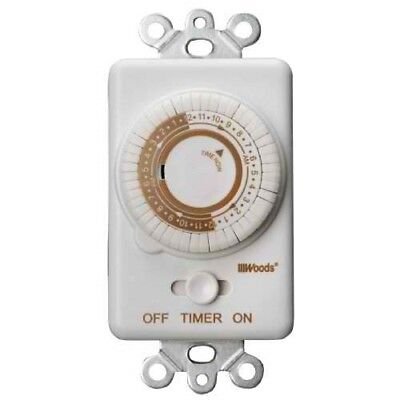 Woods 59745WD Switch Timer Repeats Daily, 24-Hour Cycle, Convert Light Switch to