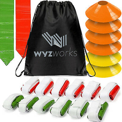 WYZworks Red & Green Flags 12 Player Flag Football Set w/ Cones & Travel Bag